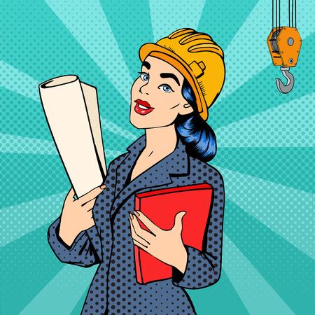 Geschäftsfrau. Frau Ingenieur. Frau im Helm mit Dokumenten. Geschäfts-Dame. Weiblicher Architekt. Pop-Art-Fahne. Vektor-Illustration