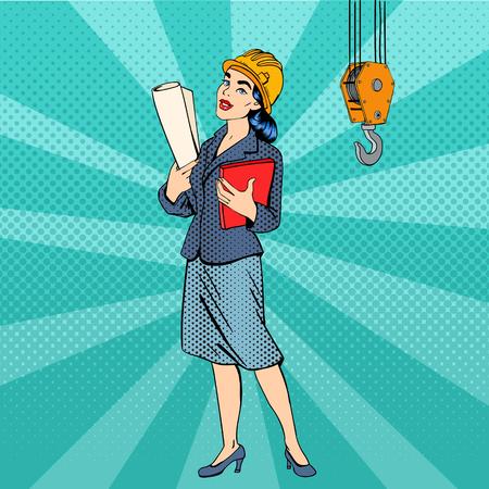 비즈니스 우먼. 여자 엔지니어입니다. 문서와 헬멧에 여자입니다. 비즈니스 아가씨. 여성 건축가. 팝 아트 배너. 벡터 일러스트 레이션