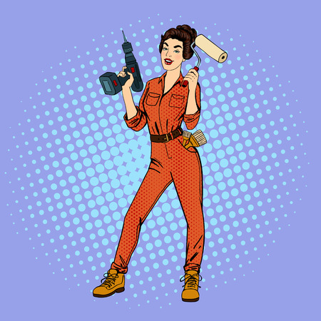 boilersuit: Woman in Uniform. Girl with Roller Brush. Woman Doing Repairs. Girl with Drill. Pop Art Banner. Pin Up Girl. Woman Worker. House Repair. Vector illustration