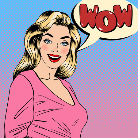glamorous: Surprised Woman. Happy Girl. Pin Up Girl. Pretty Blonde. Bubble Wow. Pop Art Banner. Vector illustration