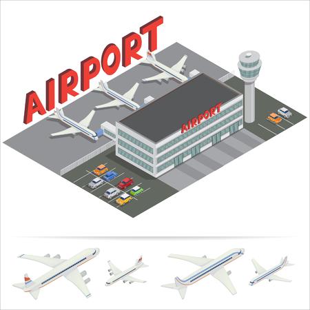 等尺性空港ビル。飛行機と空港ターミナル。空気を旅行します。乗客の飛行機。ベクトル図  イラスト・ベクター素材