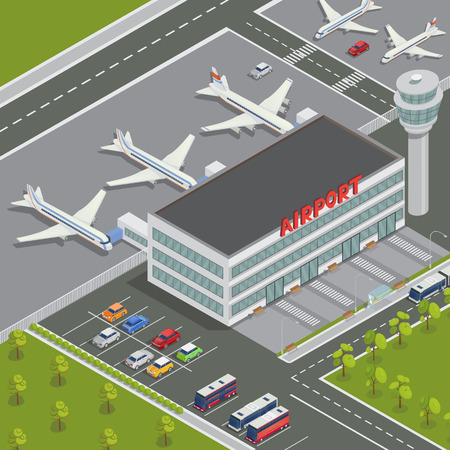 transportation facilities: Isometric Airport Building. Airport Terminal with Planes. Travel Air. Passenger Airplane. Vector illustration