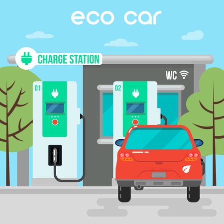electric vehicle: Electric Car. Eco Car on Charging Station. Green Energy. Electric Vehicle. Vector Illustration Illustration