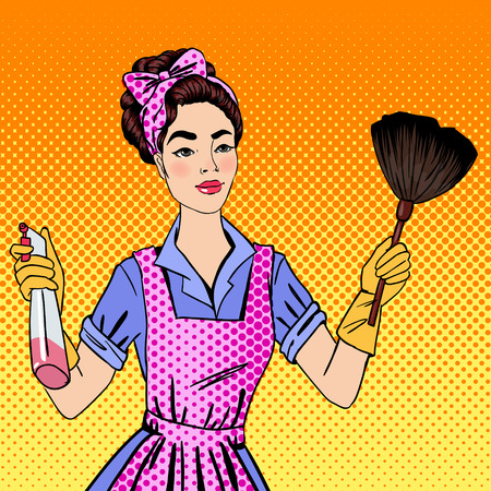 house work: Woman Cleaning the House. Girl Doing House Work. Pin Up Girl. Pop Art. Comic Style. Vector Illustration Illustration