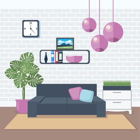 modern living room: Modern Interior. Living Room. Room Design. Minimalism Style. Room with Furniture. Vector illustration Illustration