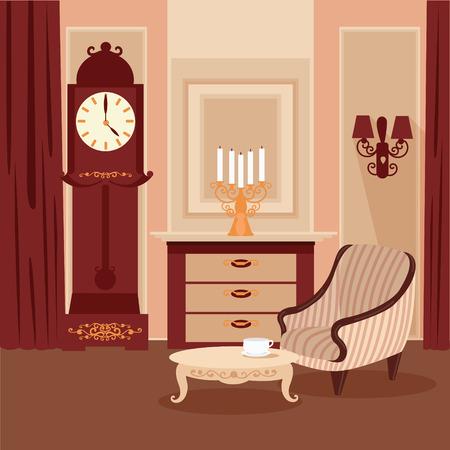 classic interior: Living Room. Classic Interior. Vintage Style. Retro Furniture. Room Interior with Vintage Candlestick. Home Interior. Vector illustration