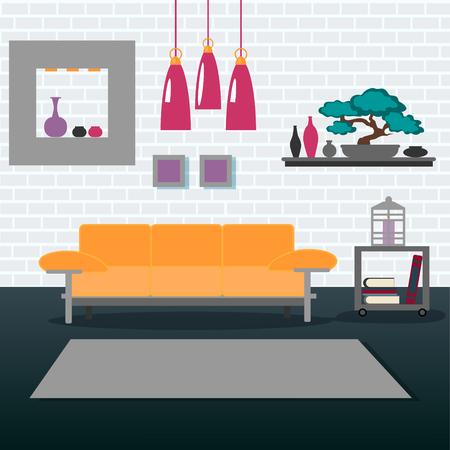 Wohnzimmer Inter. Modern Home. Zimmer Mit Bücherregale Und Sofa ...