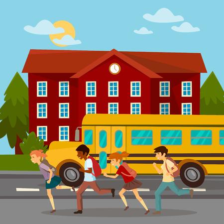 scholars: School Building. Scholars Running to School. School Bus. Girl with Backpack. Boy with Backpack. Vector illustration
