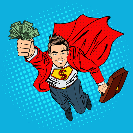 Super Businessman. Flying Businessman. Man with Maney. Successful Businessman. Pop Art. Vector illustration