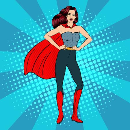 Super-kobieta. Kobieta Hero. Superhero. Dziewczyna w kostium superbohatera. Dziewczyna pozująca do zdjęć na plakatach. Komiks styl. Pop Art. ilustracji wektorowych Ilustracje wektorowe