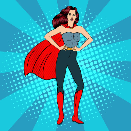 Superfrau. Weibliche Helden. Superheld. Mädchen in der Superheld-Kostüm. Pin Up Girl. Comic-Stil. Pop-Art. Vektor-Illustration Vektorgrafik
