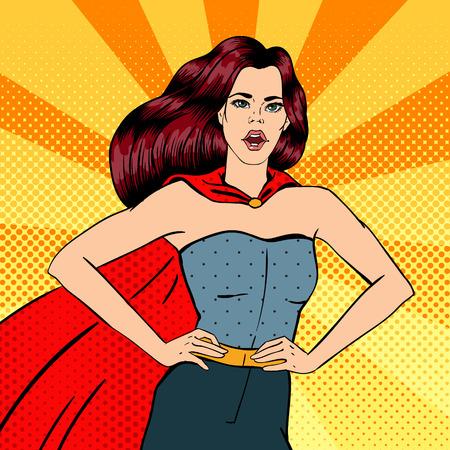 슈퍼 우먼. 여성 영웅. 슈퍼 히어로. 슈퍼 히어로 의상에서 소녀입니다. 핀업 걸. 만화 스타일. 팝 아트. 벡터 일러스트 레이 션 일러스트