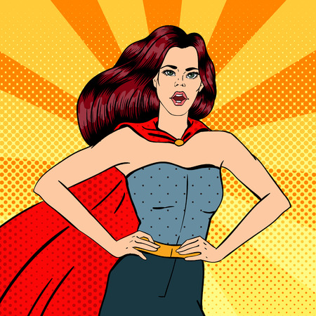 Super Woman. Female Hero. Superhero. Girl in Superhero Costume. Pin Up Girl. Comic Style. Pop Art. Vector illustration Ilustração