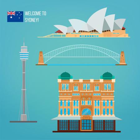 시드니 아키텍처입니다. 호주 관광청. 오페라 극장. 시드니 건물입니다. 시드니에 오신 것을 환영합니다. 벡터 일러스트 레이 션