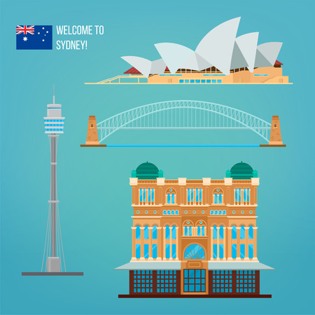 Sydney Architettura. Tourism Australia. Teatro dell'opera. Sydney edifici. Benvenuti a Sydney. illustrazione di vettore Vettoriali