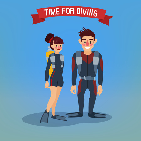 tourism industry: Man and Woman Divers. Time for Diving. Travel Banner. Tourism Industry. Active People. Vector illustration Illustration