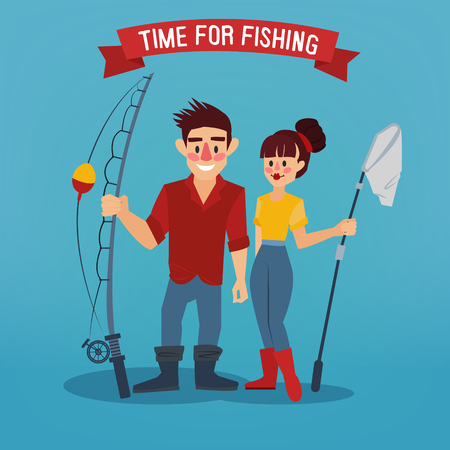 fisher man: Man and Woman Fishers. Time for Fishing. Man with Fishing Rod. Active People. Vector illustration