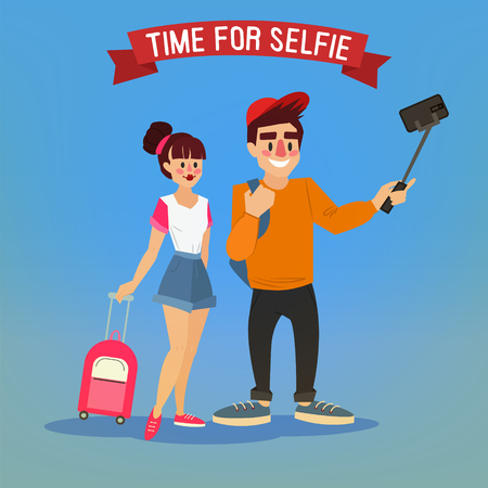 happy couple: Tourists Making Selfie. Travel Banner. Tourism Industry. Active People. Tourist with Baggage. Happy Couple. Vector illustration