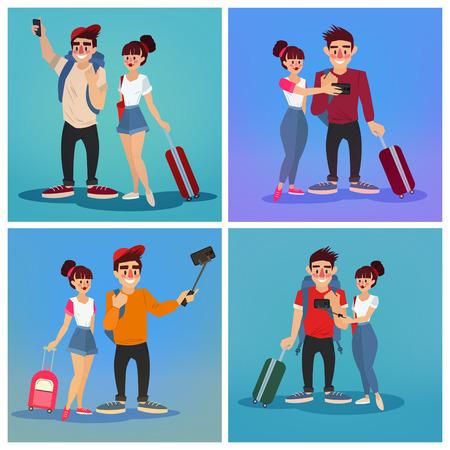 Les touristes Faire selfie. Bannière Voyage. Industrie du tourisme. Les gens actifs. Touristique avec bagages. Couple heureux. Vector illustration