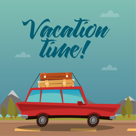 vacation time: Travel Banner. Travel by Car. Vacation Time. Vector illustration Illustration