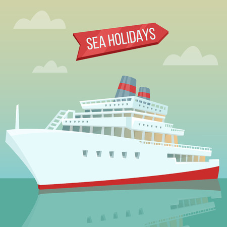 tourism industry: Travel Banner. Sea Holidays. Passenger Ship. Cruise Liner. Tourism Industry. Vector illustration
