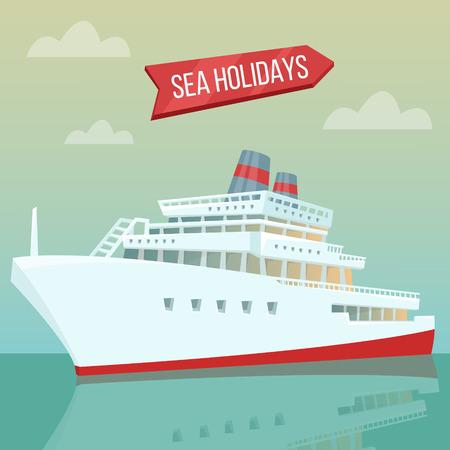 Reisen Banner. Urlaub am Meer. Passagierschiff. Kreuzfahrtschiff. Tourismuswirtschaft. Vektor-Illustration