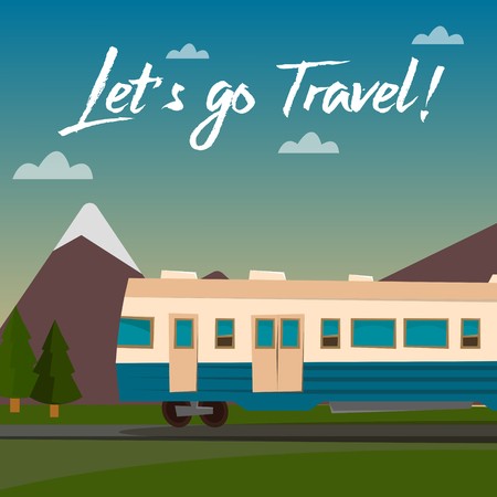 weekend activities: Travel Banner. Travel by Train. Time to Travel. Train on the Mountain Landscape. Vector illustration