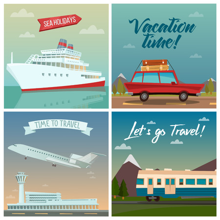 tourism industry: Travel Banners. Sea Holidays. Passenger Ship. Travel by Car. Air Travel. Travel by Train. Tourism Industry. Vector illustration Illustration