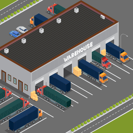 storehouse: Isometric Warehouse. Storehouse Building. Cargo Industry. Delivery Business. Cargo Transportation. Commercial Truck. Vector Illustration