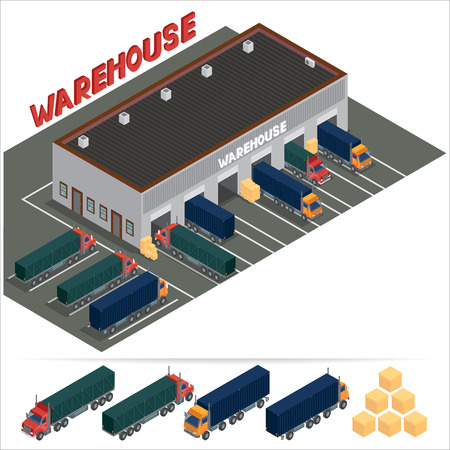 warehouse building: Isometric Warehouse. Storehouse Building. Cargo Industry. Delivery Business. Cargo Transportation. Commercial Truck. Vector Illustration