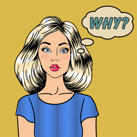 Surprised Woman. Comic Style. Pin Up Girl. Bubble Why. Pop Art. Vector illustration Illustration