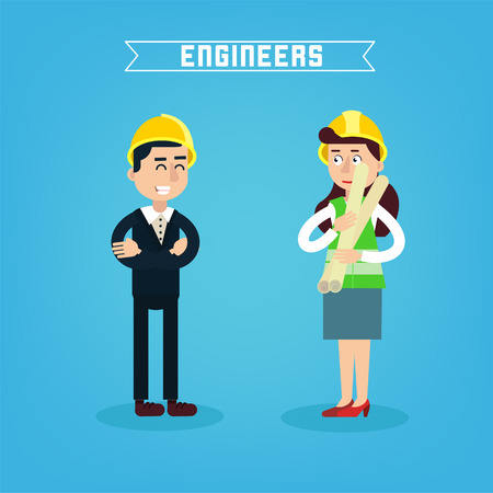 project manager: Construction Workers. Engineer and Project Manager. Construction Engineering. Vector illustration