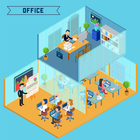 corporative: Modern Office Interior. Isometric Office. Businessman at Work. Corporative Office Building. Office Room with Furniture and Computers. Vector illustration