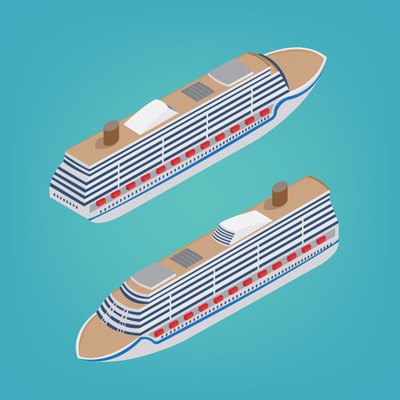 liner transportation: Isometric Passenger Ship. Tourism Industry. Cruise Liner Travel. Mode of Transportation. Vector illustration