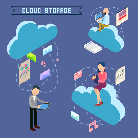 repository: Cloud Storage. Isometric Computer Technology. People Uploading Files to the Repository. Vector illustration Illustration