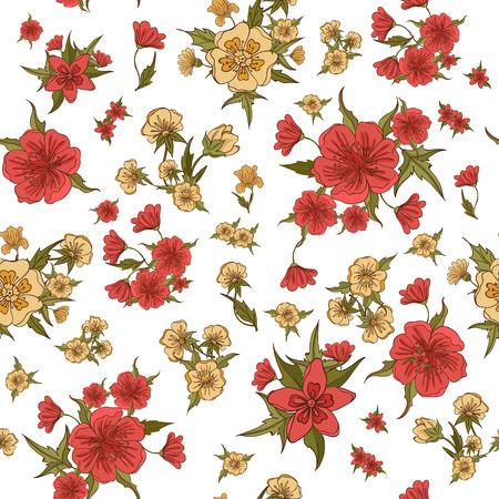vintage background pattern: Floral Background. Flowers Seamless Pattern. Vintage Flowers. Vector illustration