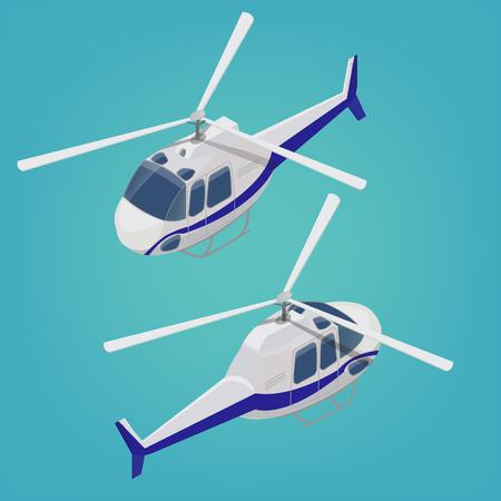 Helicóptero isométrico. Modo de transporte. Vehículo de aeronave Ilustración vectorial