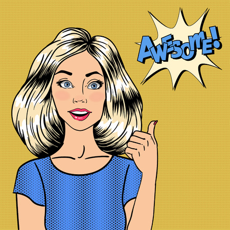 acceptation: Woman Gesturing Great. Pin Up Girl. Bubble Expression Awesome. Pop Art. Vector illustration Illustration