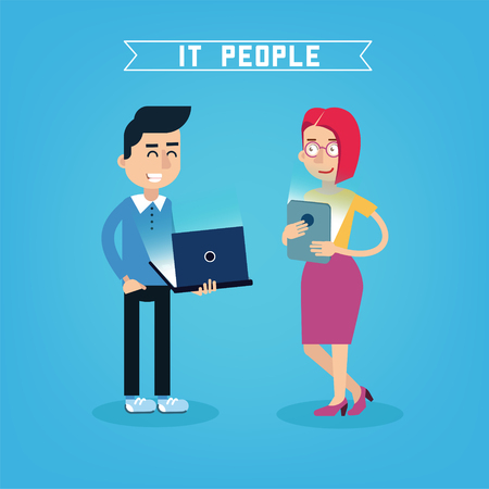it professional: IT People. IT Professional. Programmer with Laptop. Woman with Tablet. People with Gadgets. Vector illustration Illustration