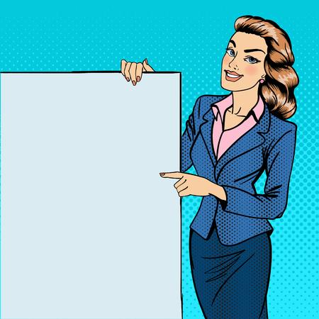 女性のポスターを身振りで示します。バナーを保持している実業家。少女の広告。ポップアート。ベクトル図