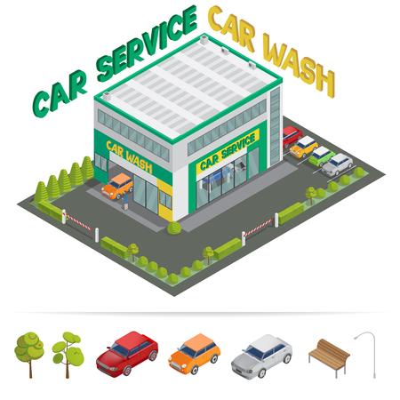 commercial tree service: Car Service. Car Wash. Isometric Building. Isometric Transportation. Vector illustration Illustration