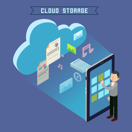 repository: Cloud Storage. Isometric Computer Technology. Man Uploading Files to the Repository. Vector illustration