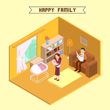 Isometric Interior. Happy Family. Isometric People. Mother with Baby. Young Parents. Vector illustration Vektorové ilustrace