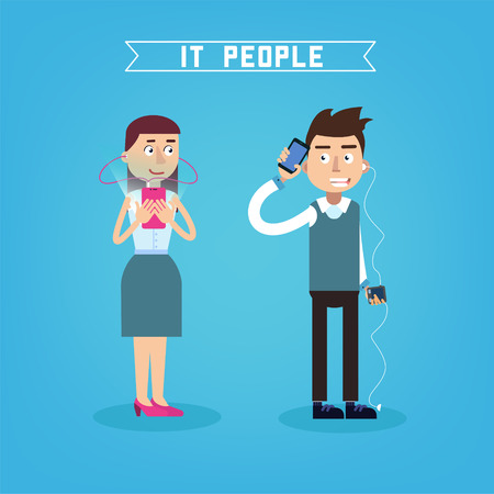 smart phone woman: IT People. Man with Phone. Woman with Smart Phone. People with Gadgets. Vector illustration