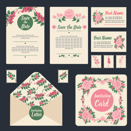 calendar date: Wedding Invitation Stationary Set. Floral Decoration. Wedding Invitation. Greeting Card. Vector illustration