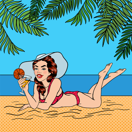 Tropical Paradise. Woman with a Cocktail. Pin Up Girl. Beautiful Woman in a Swimsuit. Pop Art. Vector illustration