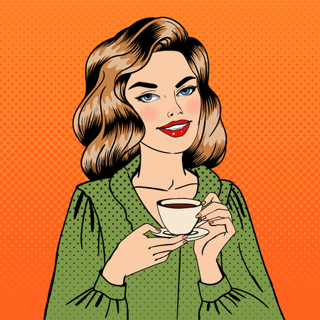 Beautiful Woman with Cup of Coffee. Pin Up Girl. Pop Art. Girl with Coffee. Vector illustration 向量圖像