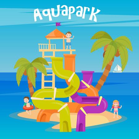 Waterpark. Zomervakantie. Fun Aquapark. Hills water. vector illustratie