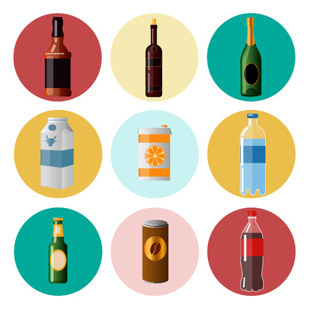 ware: Different Beverages. Drinks in Ware. Icons Set. Vector illustration Illustration