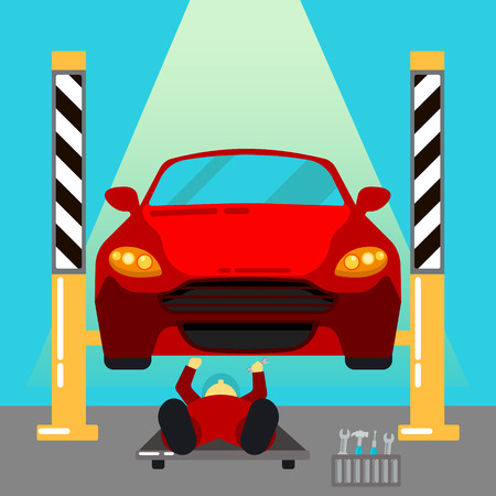 serviceman: Car Service. Car Repairs and Diagnostics. Auto Maintanence. Serviceman at Work. Vector illustration